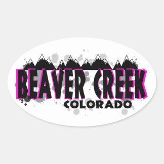 Beaver Creek rosado de neón Colorado del grunge Pegatina Ovalada