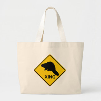 Beaver Crossing Highway Sign Canvas Bags
