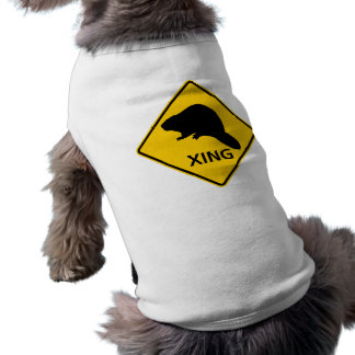 Beaver Crossing Highway Sign Doggie Tee Shirt