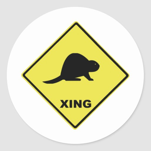 Beaver crossing round sticker