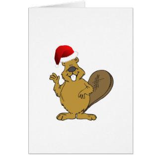 Beaver cute santa hat card