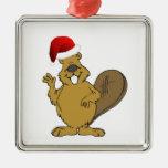 Beaver cute santa hat christmas ornament