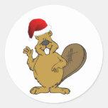 Beaver cute santa hat round sticker