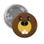 Beaver Face 1 Inch Round Button