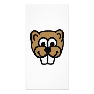 Beaver face photo card