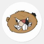 Beaver Face Round Sticker