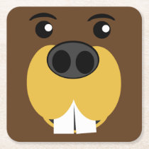 Beaver Face Square Paper Coaster