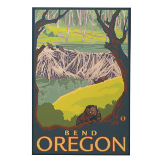 Beaver Family - Bend, Oregon Wood Wall Art