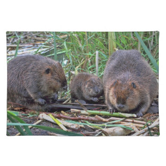 Beaver Family Cloth Placemat