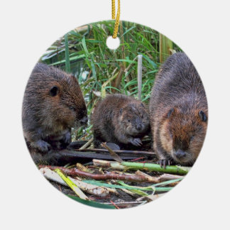 Beaver Family Double-Sided Ceramic Round Christmas Ornament