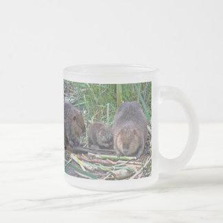 Beaver Family 10 Oz Frosted Glass Coffee Mug