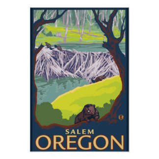 Beaver Family - Salem, Oregon Poster