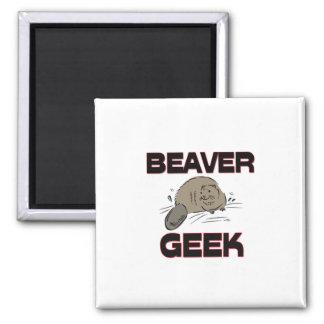 Beaver Geek 2 Inch Square Magnet