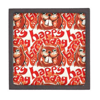 beaver happy birthday cartoon style illustration gift box