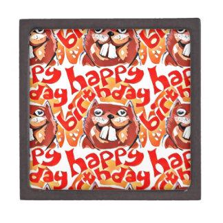 beaver happy birthday cartoon style illustration keepsake box