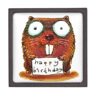 beaver holds happy birthday message cartoon keepsake box