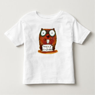 beaver holds happy birthday message cartoon toddler t-shirt