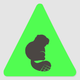 Beaver Icon, Nocturnal Rodent Triangle Sticker