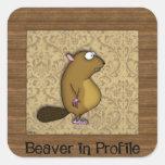 Beaver in Profile Square Sticker