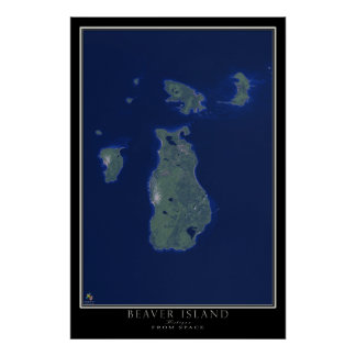 Beaver Island Michigan From Space Satellite Art Poster
