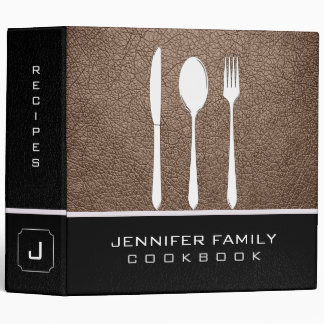 Beaver Leather Family Cooking 3 Ring Binder