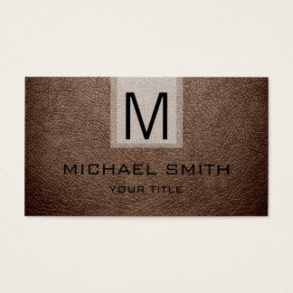 Beaver Leather Textured Monogram Business Card