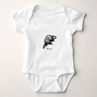 Beaver (line art) baby bodysuit