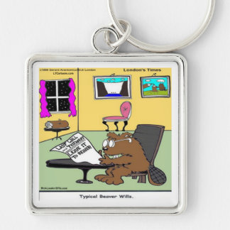 Beaver Living Wills Rick London Funny Silver-Colored Square Keychain
