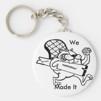 beaver  move, We, Made It Basic Round Button Keychain