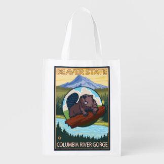 Beaver & Mt. Hood - Columbia River Gorge, OR Reusable Grocery Bag
