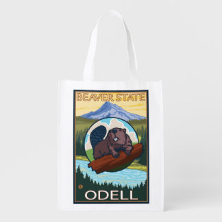 Beaver & Mt. Hood - Odell, Oregon Grocery Bag