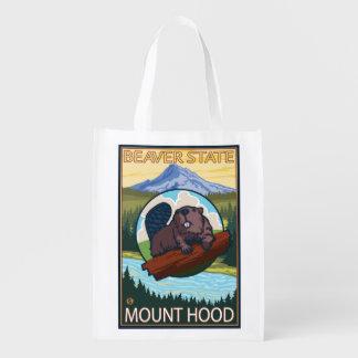 Beaver & Mt. Hood, OregonVintage Travel Poster Grocery Bag