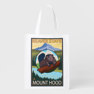 Beaver & Mt. Hood, OregonVintage Travel Poster Reusable Grocery Bags