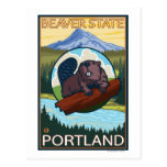 Beaver & Mt. Hood - Portland, Oregon Postcard