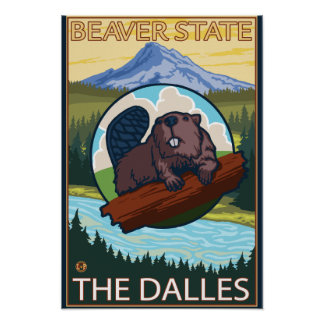Beaver & Mt. Hood - The Dalles, Oregon Poster