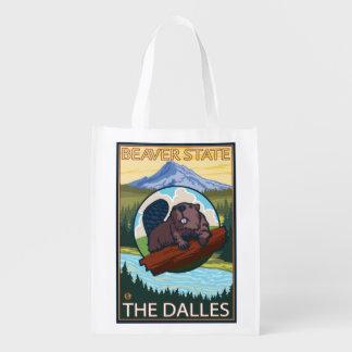 Beaver & Mt. Hood - The Dalles, Oregon Reusable Grocery Bags