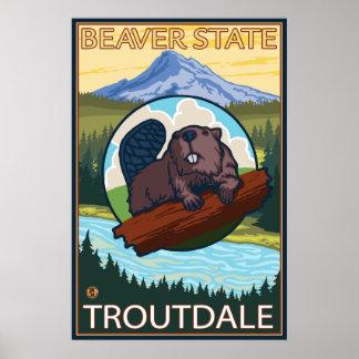 Beaver & Mt. Hood - Troutdale, Oregon Poster