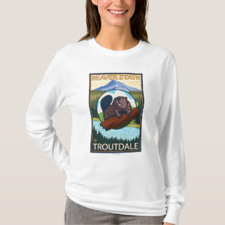 Beaver & Mt. Hood - Troutdale, Oregon T-Shirt