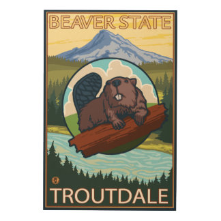 Beaver & Mt. Hood - Troutdale, Oregon Wood Wall Decor