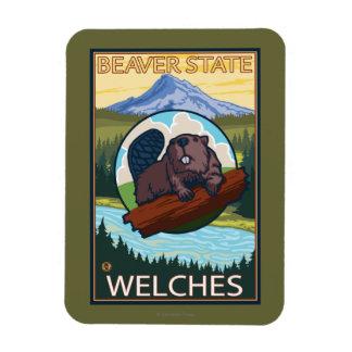 Beaver & Mt. Hood - Welches, Oregon Magnet