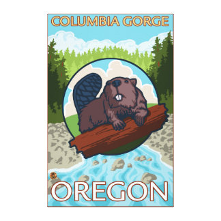 Beaver & River - Columbia Gorge, Oregon Gallery Wrap Canvas