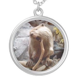 Beaver Round Pendant Necklace