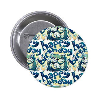 beaver say happy birthday pinback button