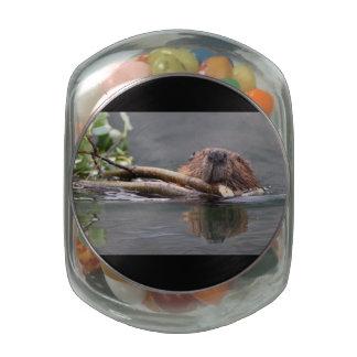 Beaver Working Glass Jars