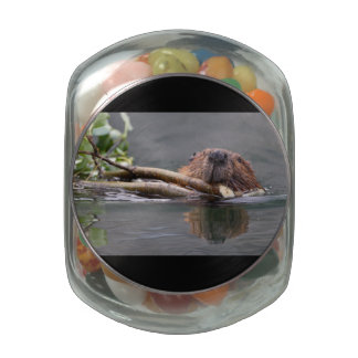 Beaver Working Glass Jars