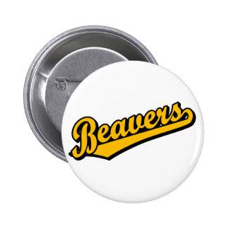Beavers in Orange Pinback Button