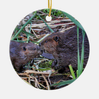 Beavers Kissing Photo Ceramic Ornament