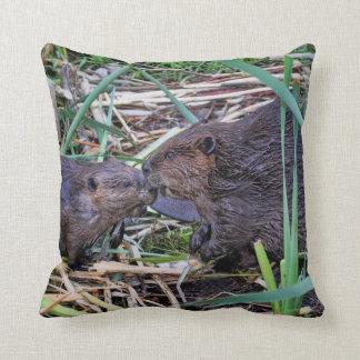 Beavers Kissing Photo Throw Pillow