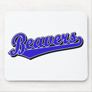 Beavers script logo in blue mouse pad