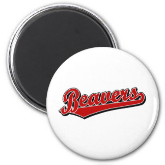 Beavers script logo in red 2 inch round magnet
